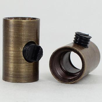 1/8ips Female x 1/8ips Female Threaded Strain Relief with Nylon Set Screw - Antique Brass