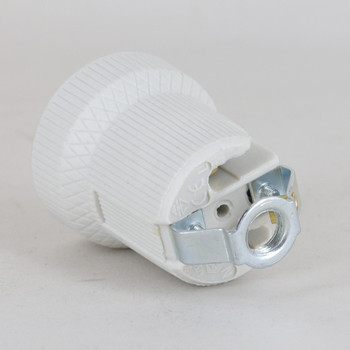 E27 Porcelain Lamp Holder with Grounding earth terminal and M10 Threaded Hickey.