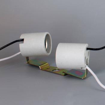 E-26 Twin Off-Set Porcelain Socket Cluster Pre-Wired 14in. Wire Leads and Metal Bracket. Bracket Has 1/8ips. Slip Through Hole