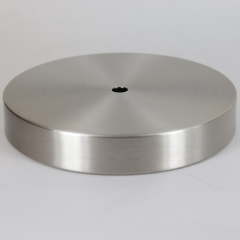 1/8ips Center Hole - 6in Flat Canopy/Base without Wire Way - Brushed/ Satin Nickel Finish with Rolled Bottom Edge Felt Return.