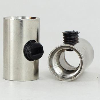 1/8ips Female x 1/8ips Female Threaded Strain Relief with Nylon Set Screw - Polished Nickel
