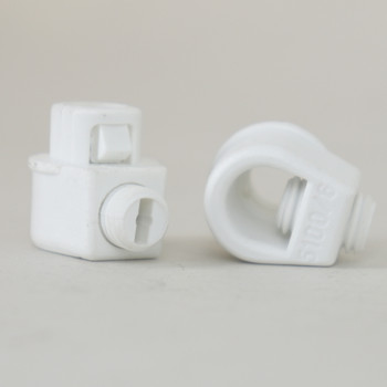 White 1/8ips Snap In Strain Relief with M7 Threaded Set Screw