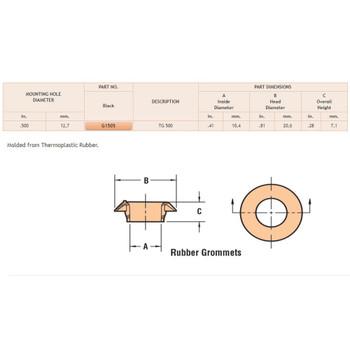 13/16in (0.81in) Diameter Black Rubber Grommet for 1/2in (0.5in) Mounting Hole