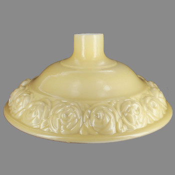 16-1/4in. Buff Color Embossed Horn Design Torchiere Shade with 2-3/4in. Neck