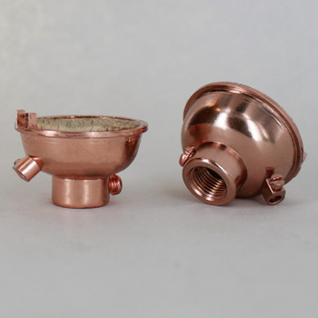 Copper Plated Finish 1/8ips. Female Cap with Grounding Terminal For Use with Cast Turned Sockets.