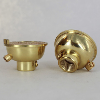 Polished Brass Finish 1/8ips. Female Cap with Grounding Terminal For Use with Cast Turned Sockets.