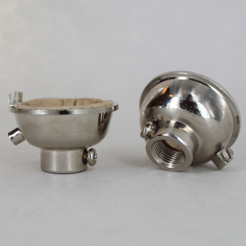 Polished Nickel Finish 1/8ips. Female Cap with Grounding Terminal For Use with Cast Turned Sockets.