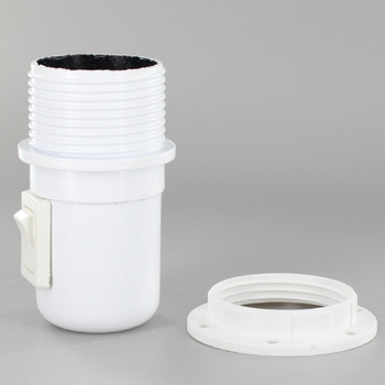 E27 White Threaded Skirt with Shoulder Rest Toggle Switch Lamp Holder with 1/8ips Threaded Cap