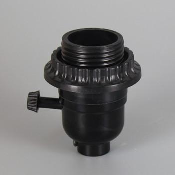 Leviton - Black E-26 Phenolic Threaded Shell with Shade Ring Single Turn Socket with 1/8ips. Bottom