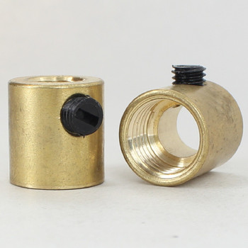 1/4ips. Female Threaded Strain Relief with Nylon Set Screw - Unfinished Brass