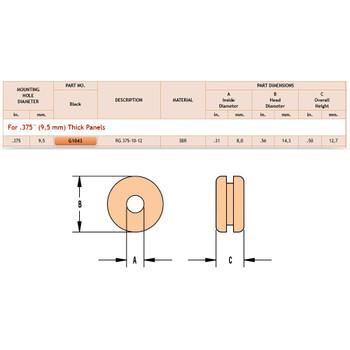 9/16in (0.56in) Diameter Black Rubber Grommet for 3/8in (0.375in) Thick Panels.