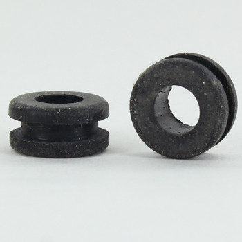 1/2IN (0.50IN) DIAMETER BLACK RUBBER GROMMET FOR 3/8IN (0.375IN) THICK PANELS