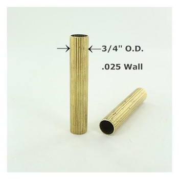 3/4in Reeded Unfinished Brass Tubing