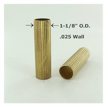 1-1/8in. Reeded Unfinished Brass Tubing