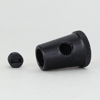 Black Powder Coated 1/8ips Female Threaded Cone Cord Grip with M6 Threaded Nylon Set Screw