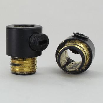 1/8ips. Male Threaded Strain Relief with Nylon Set Screw - Black Powder Coated Brass