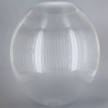 12in Diameter X 5-1/4in Diameter Hole Acrylic Neckless Egg Shape Ball - Clear Prismatic