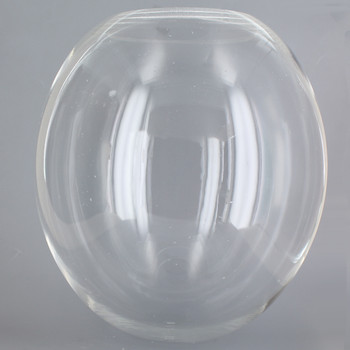12in Diameter X 5-1/4in Diameter Hole Egg Shaped Acrylic Neckless Ball - Clear
