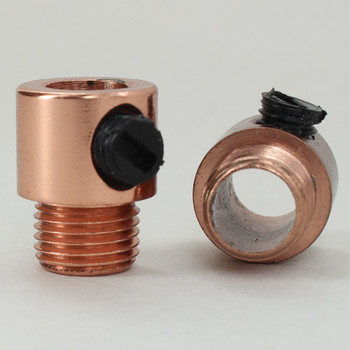 1/8ips. Male Threaded Strain Relief with Nylon Set Screw - Polished Copper Finish