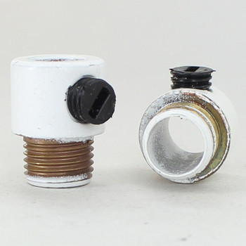 1/8ips. Male Threaded Strain Relief with Nylon Set Screw - White Powder Coated Brass