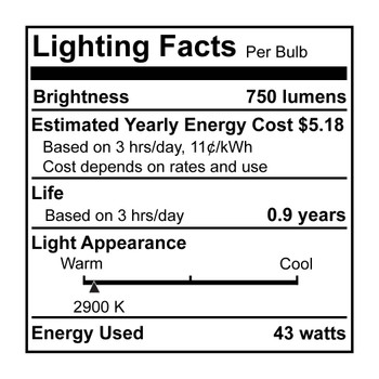 2- Pack 43W = 60W Clear Flame Tip E-26 Base ECO Halogen Bulb
