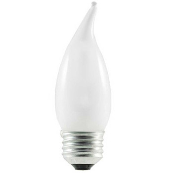 2- Pack 43W = 60W Frosted Flame Tip E-26 Base ECO Halogen Fully Dimmable Bulb.