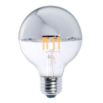 5W Led = 40W Incandescent G25 Globe -E-26 Base Half Silver Crown Bulb.