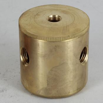 3 X 1/4ips. Side Holes - 1/4ips Bottom - Large Modern Cluster Body - Unfinished Brass