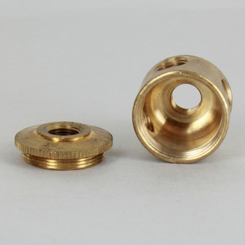 3 X 1/8ips. Side Holes - 90-Degree T - 1/8ips Bottom - Small Cluster Body - Unfinished Brass