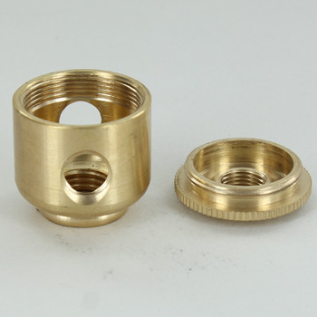 2 x  1/8ips. Side Hole -  1/4 ips. Bottom - Small Cluster Body - Unfinished Brass
