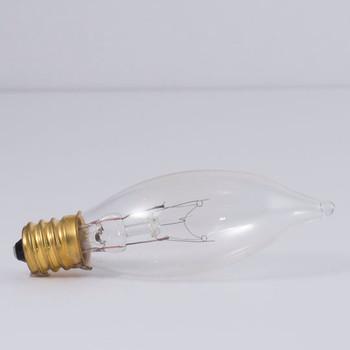 15W Clear E-12 Base 25mm. Flame Tip Bulb