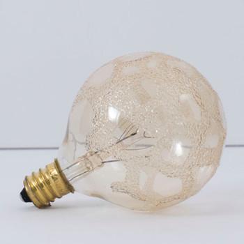 25W - 120V  Amber Marble G-16 Globe E-12 Base Bulb
