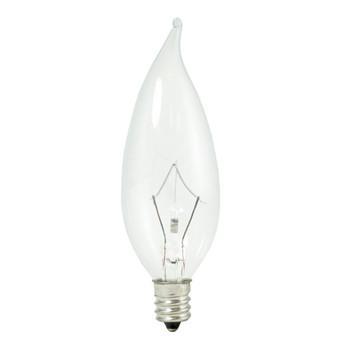 25W Clear Krypton E-12 Base Flame Tip Bulb