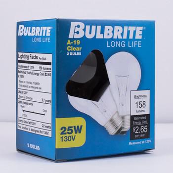 2 Pack - 25W Clear E-26 Base A-19 Household Bulb