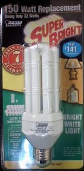 150W Replacement! 32W White E-26 Base Compact Fluorescent Bulb