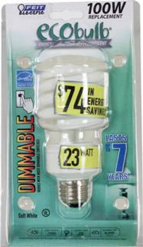 23W Soft White E-26 Base Dimmable Compact Fluorescent Bulb
