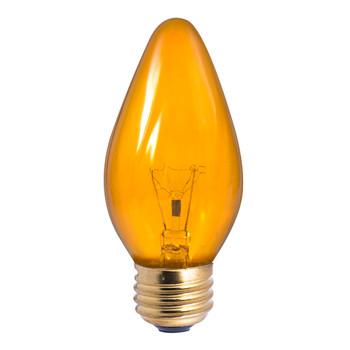 25W Amber E-26 Base F15 Flame Bulb