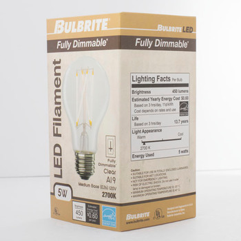5W LED A19 2700K FILAMENT FULLY COMPATIBLE DIMMING BULB