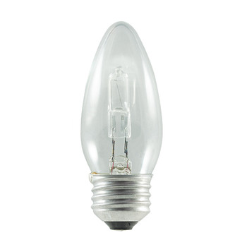 2- Pack 43W = 60W Clear Torpedo Tip E-26 Base ECO Halogen Fully Dimmable Bulb