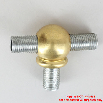 1/4ips Threaded - 7/8in Diameter Tee Fitting Ball Armback - Unfinished Brass