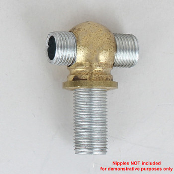 1/8ips Slip X 1/8ips Threaded - 5/8in Diameter Tee Fitting Ball Armback- Unfinished Brass