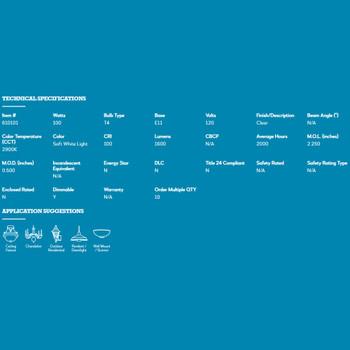 100W- 120V JD Halogen Clear E-11 Mini Candelabra Bulb