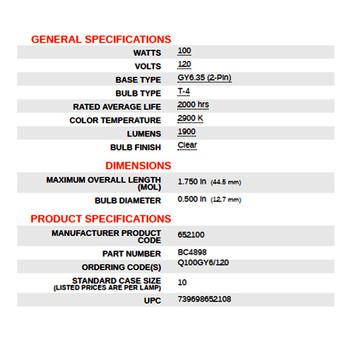 100W Halogen Clear Bi-Pin GY6.35 T4 Tubular Bulb
