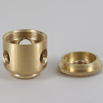 3 X 1/4ips. Side Holes - 1/8ips. Bottom - Small Cluster Body - Unfinished Brass