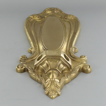 Double Arm Crested Backplate- Unfinished Brass