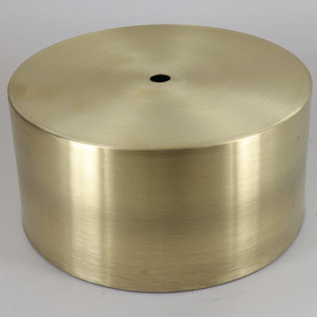 6in. Diameter Flat 3in. Deep Spun Steel Canopy With 1/8ips Slip Center Hole - Unfinished Brass