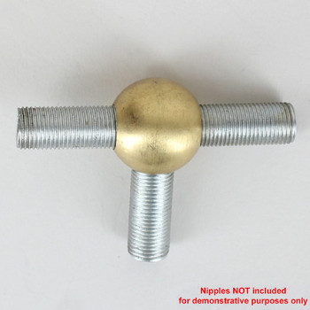 1/8ips - 7/8in Diameter Tee Fitting Ball Armback - Unfinished Brass