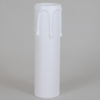 105mm Height X 29mm OD Hard Plastic Candle Cover with Drips - White