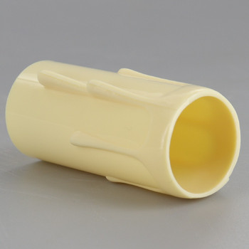 2in. Long Plastic E-12 Base Candle Socket Cover - Candelabra - Ivory Drip
