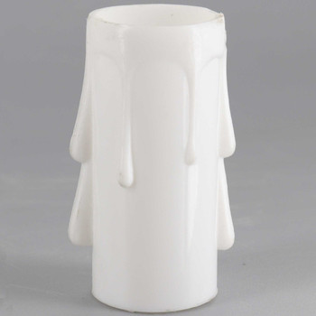 2in. Long Plastic E-12 Base Candle Socket Cover - Candelabra - White Drip